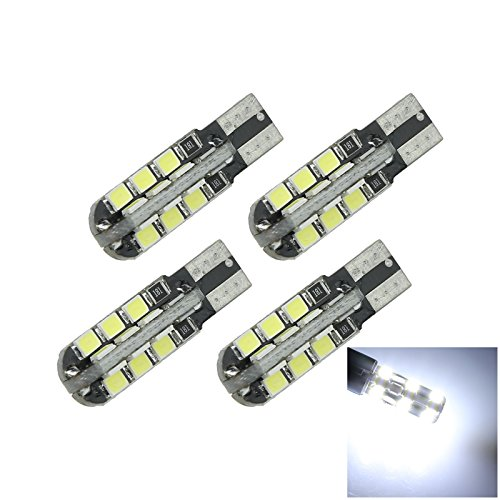 ZHANSHENZHEN White Auto Turn Signal Light Wedge Lamp Canbus Error Free 24 Emitters 2835 SMD LED DC 12V 2921 2825 12256 A105-W Pack of 4
