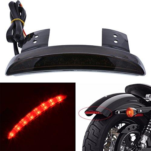 KaTur Smoke Chopped Fender Edge Motorcycle 8 LED RED Stop Running Brake Rear Tail Light for Harley Sportster XL 883N 1200N XL1200V XL1200X