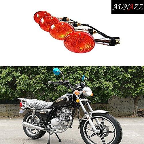 AUNAZZMotorcycle Motorbike Turn Signals Indicators Waterproof Blinker Light Amber