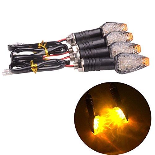 SMKJ 4PCS 12V Universal black Motorcycle Motorbike Turn Signal Indicator Blinker Amber Lamp LED light for Yamaha Honda Suzuki Kawasaki Amber light