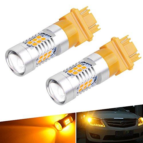 oEdRo 3157 3156 AmberYellow 21SMD LED Lights Used for Turn Signal Blinker Parking Light Bulbs 3057 4157 12V pack of 2