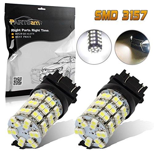 Pack of 2 Partsam 3056 3156 3057 3157 White 60-SMD LED Bulbs Parking Backup Reverse Lamp Brake Tail Lights Bulb