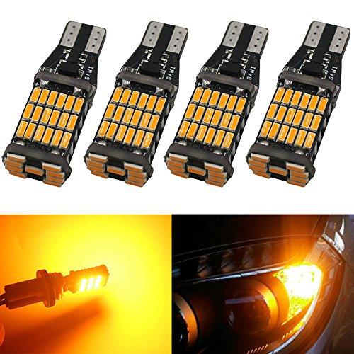 4-Pack 921 912 T10 T15 Amber  Yellow 800 lumens 12V-24V Extremely Bright Non-Polarity Canbus Error Free AK-4014 45pcs Chipsets LED Bulbs For Side Marker Light Brake Bulb