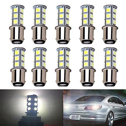 OneFly White 1157 BAY15D 5050 18SMD LED Replacement Bulb For Reverse lightTurn signal lightTail lightBrake light Pack of 10