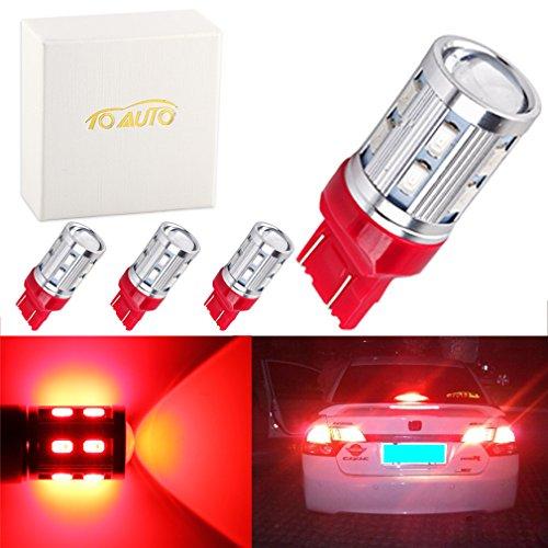 ToAUTO 4 X 7443 7440 Car LED Turn Signal Brake bulbs 12 SMD 5730 W215W 5W High power Cree XPE LED lamp Back Up Bulbs car light source parking Red