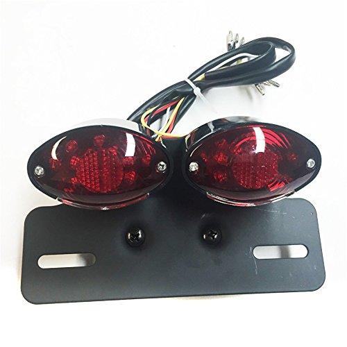 Motorcycle Universal Cat Eye Custom Motorcycle Tail Brake License Plate light BLACK RED