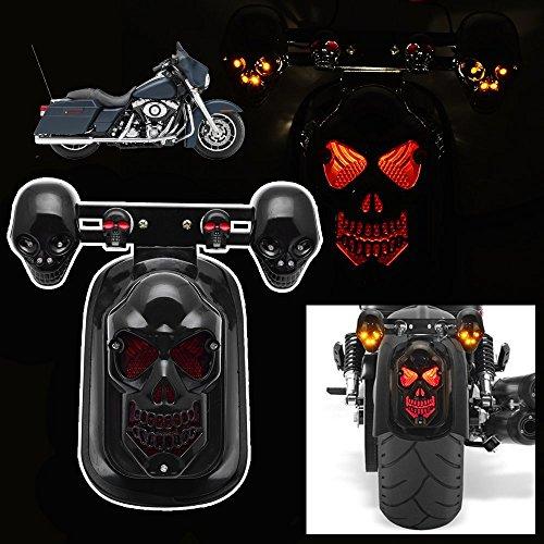 Candance Skull Integrated LED Rear Tail Light Side Mount Plate with Turn Signal for Harley Honda Suzuki Kawasaki Yamaha Black
