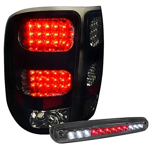 Gmc Sierra Glossy Black Led Rear Tail LampSmoke Tint 3Rd Brake Light