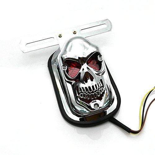 Heinmo Skull Integrated Motorcycle LED Rear Tail Light License Plate Bracket Brake Light for Harley
