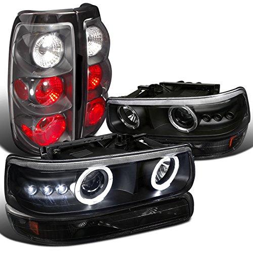 Black Silverado Halo Projector HeadlightBumper LampBlack Tail Lights