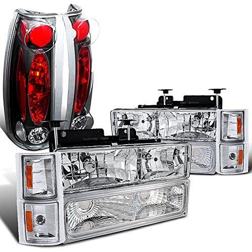 Chevy Silverado Chrome Headlights Bumper Corner LampsBlack Tail Lamps