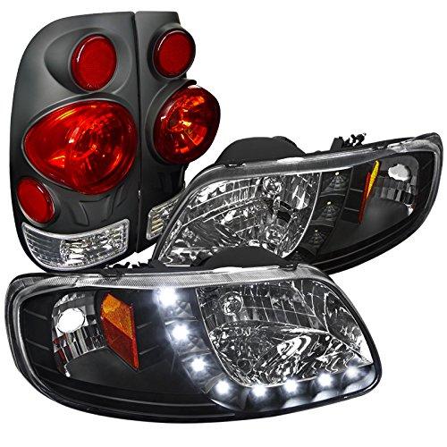 Ford F150 Black Headlights w SMD LED Strip 3D Retro Black Tail Light