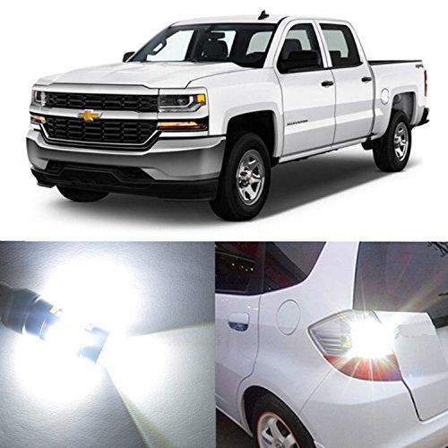 Alla Lighting 2pcs Super Bright 7443 7443LL T20 White LED Bulbs Turn Signal Brake Stop Light Lamps for 2014~17 Chevrolet Chevy Silverado 1500  2015~17 Silverado 2500 HD 3500 HD