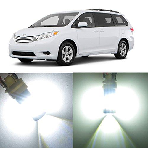 Alla Lighting 2x Super Bright 6000K White 7440 7440NA 7443 LED Bulbs for Rear Turn Signal Brake Stop Light Lamps for 2001 2002 2003 2006 2007 2008 2009 2010 2015 2016 2017 Toyota Sienna
