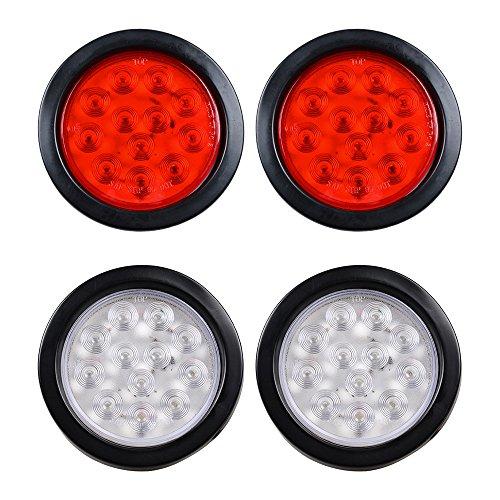2 Red  2 White 4 Round 12- LED Stop Turn Tail Back-up Reverse Fog Lamp  Lights Grommet Plug for Truck Trailer RV