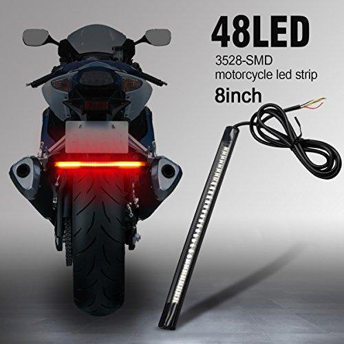 AMBOTHER Universal LED Light Strip Tail Trailer Brake Stop Turn Signal 48-3528 SMD 8 Flexible LED License Plate Lights DC12V for Motorcycle Harley Davidson Bike ATV Car RV SUV