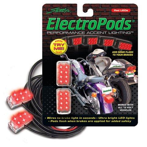 BUZZTRONICS STREET-FX RED MOTORCYCLE BRAKE LIGHTS - CHROME 1043311