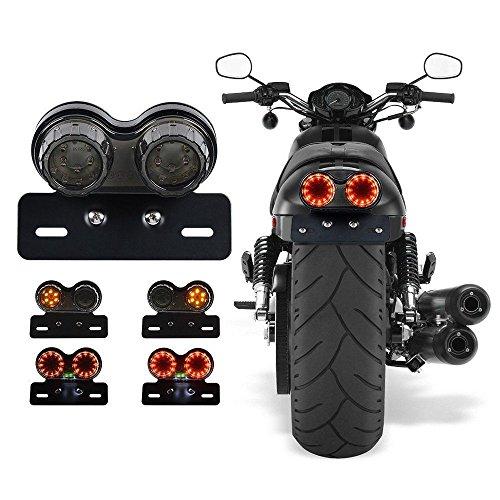Cara 40W 40-LED Motorcycle Tail Light Integrated Running Brake Lights Turn Signal Lamp License Plate Bracket for Harley Honda Yamaha Suzuki Kawasaki Black