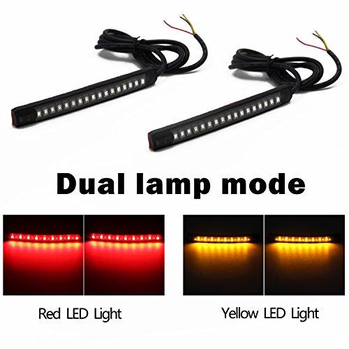 Purishion 2x Universal Flexible LED Turn Signal Tail Brake License Plate Light Integrated for Motorcycle Bike ATV Car RV SUV BrakeRunning Tail Light2Pack Amber Red