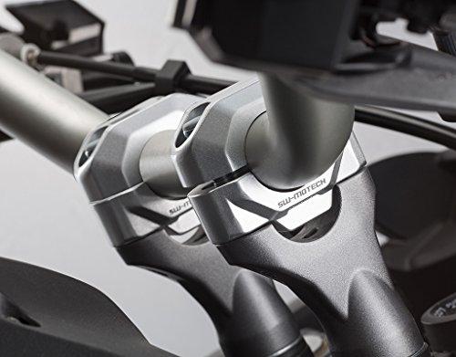SW-MOTECH Handlebar Riser Kit to fit 22mm Handlebars for many Aprilia BMW Honda Kawasaki KTM Suzuki Triumph Yamaha models  15mm Rise - Silver