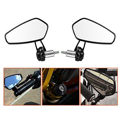 LeaningTech 78 Motorcycle CNC Billet Aluminum 22 Handlebar Bar End Mount Glare Rearview Sports Side Mirrors Black