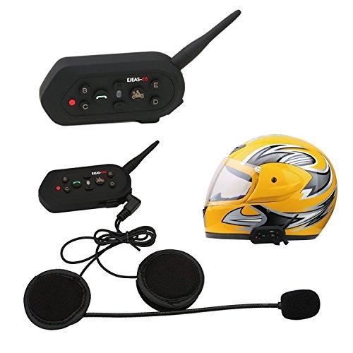 ELEOPTION 1 PCS 1300M Motorcycle Helmet Intercom Bluetooth Wireless Waterproof Bike Intercom Headsets 6 Riders1300M