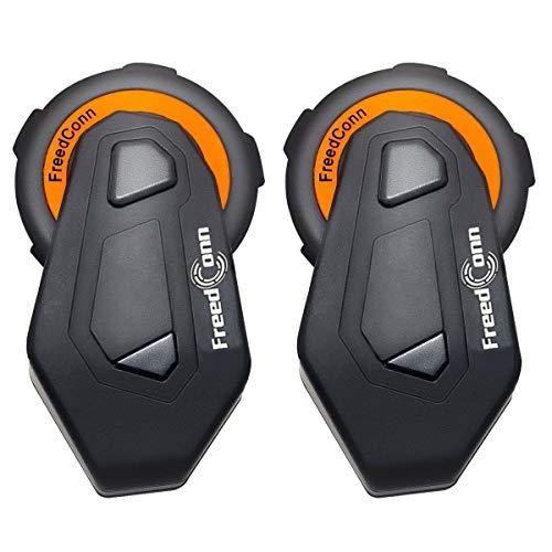FreedConn 2pcs Helmet Communication Systems Group Intercom Waterproof 1000M T-MAX Helmet Bluetooth Headset Talking Intercom Handsfree for Motorcycle Skiing Full Duplex 6 Riders Pairing FM Radio