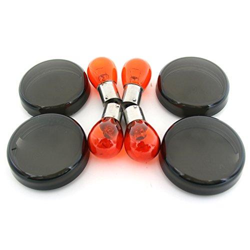 BSK 4Pcs Smoke Turn Signal Lens Cover  4Pcs Bulbs 12V Amber Light for Harley Davidson Softail Electra Glide Dyna