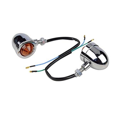 GOOFIT Vintage Refit Headlight ChromeAmber Bullet Turn Signal Light Lamp for Harley Sportster Softail Bobber Scooter