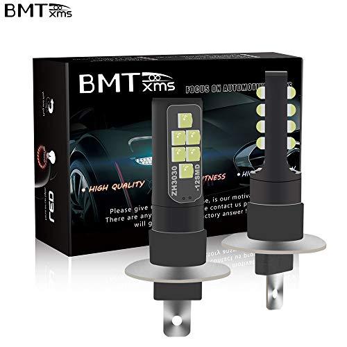 BMTxms Canbus Error Free LED Fog Lights H1 Car Bulbs Auto Fog Light Foglight DRL Light Daytime Running Lights 2Pcs H1 12SMD Ice Blue