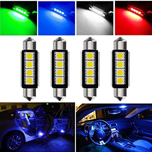 Botepon 4Pcs 211-2 212-2 578 LED Festoon Bulb 42mm 5050 3SMD Canbus Error For Car interior DomeMapTrunkLicense Plate Light Blue