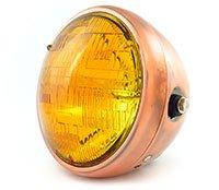 7 Side Mount Motorcycle Headlight - Bronze Amber - Vintage Custom Cafe Racer Brat Bobber Chopper