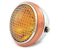 7 Side Mount Motorcycle Headlight - Chrome Bronze Amber - Vintage Custom Cafe Racer Brat Bobber Chopper