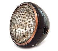 7 Side Mount Motorcycle Headlight - Gloss Black Bronze Clear - Vintage Custom Cafe Racer Brat Bobber Chopper