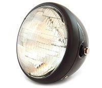7 Side Mount Motorcycle Headlight - Gloss Black Matte Black Clear - Vintage Custom Cafe Racer Brat Bobber Chopper
