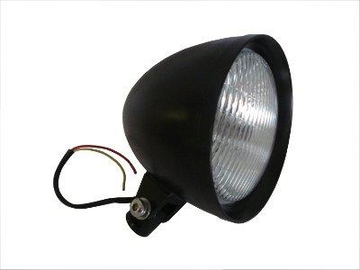 KCInt 12 Volt Black Custom Headlight for Harley Chopper Old School Bobber and DNA Springer