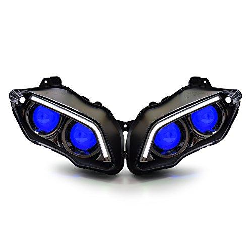 KT HID LED Custom Headlight Assembly for Yamaha R1 2007-2008 V2 Blue Demon Eye