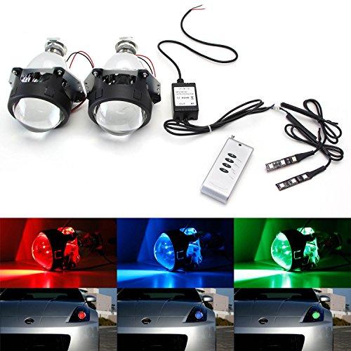 iJDMTOY 2 Mini 30 H1 Bi-Xenon HID Retrofit Projector Lens w Wireless Remote Control RGB LED Demon Eye Kit For Custom Headlight DIY