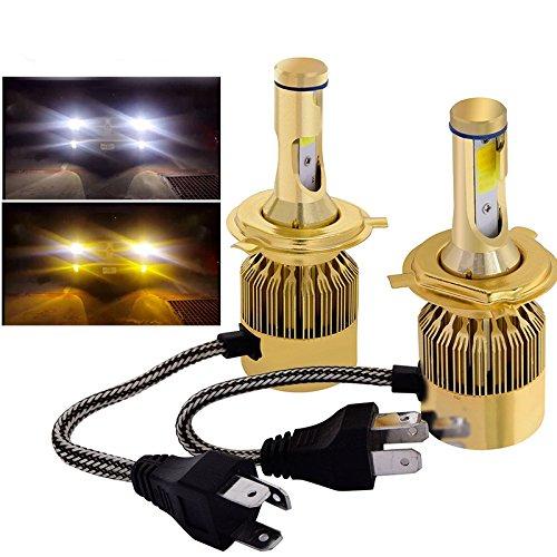 Globled 9600LM H49003HB3 Dual Colors LED Headlights Kits Bulbs HiLo Beam 3000k Yellow&6000k White 76W H49003HB2
