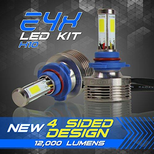 120W 12000LM LED Headlight Conversion Kit - H10 9145 9140 Fog Light Bulbs - 6000K 6K Diamond White - Premium 4-Sided Epistar COB Chip - 360 Light Plug and Play Design - 1 Pair