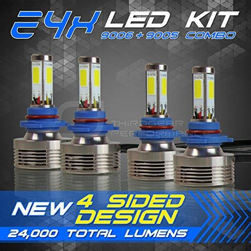9006 HB4  9005 HB3 Low  High Beam Combo - 240W 24000LM LED Headlight Conversion Kit - 6000K 6K Diamond White - 4-Sided Epistar COB Chip - 360 Light Plug and Play Design - 2 Pair
