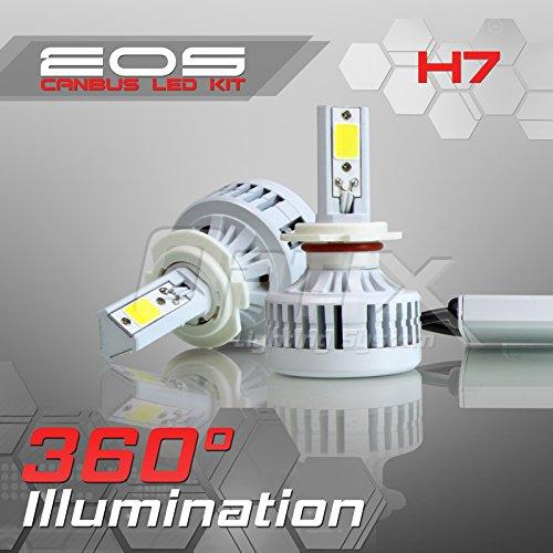 Optix 80W 8000LM LED Headlight Conversion Kit - H7 Low Beam  High Beam  Fog Light Bulbs - 6000K 6K Diamond White - Premium Epistar COB Chip - Canbus Chip Error Free No Flicker Design