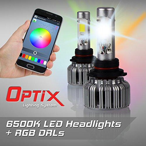 Optix V18 9005 RGB LED Headlight Conversion Kit - RGB DRL LED Headlight Conversion Bulbs - 6500K White All-In-One