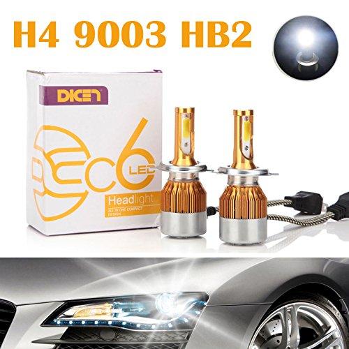 H4 9003 HB2 LED Headlight Bulbs 12000LM 120W HiLo Dual Beam Conversion Kit 6000K Cool White Plug Play COB Chips Super Bright - 2 Yr Warranty Pair