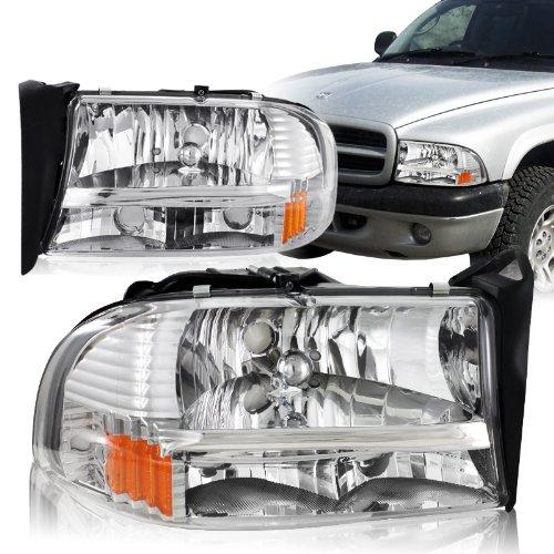 Spec-D Tuning 2LH-DAK97-ABM Dodge Dakota Durango Slt Headlights Lamps 1Pc Chrome