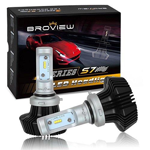 BROVIEW S7 HB4 9006 LED Headlight bulbs Conversion Kit - 50W 8000Lumen 6500K White - Lumileds Chip LED Headlight Replacement - Base Reversible - 2pcsset