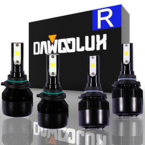 DawooLux 9006 9005HB3 LED Combo Headlight Bulbs Conversion Kits 2 sets Flip COB Chips 120W 15200LM High Low Beam 6000K White Light