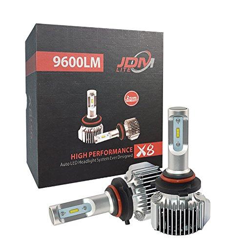 JDM LITE 9006 HB4 X8 Series 9600 Lumens Extremely Bright XTC Chips LED Headlight Bulbs Conversion Kit Aluminum Body Xenon White 6000k 2 Yr Warranty 2018 Version