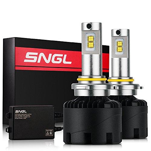 SNGL Super Bright LED Headlight Bulbs - Adjustable-Beam Conversion Kit - 9006 - 110w 11200Lm - 5000K White - 2 Yr Warranty - For Dodge Ram Jeep Chrysler GMC Silverado