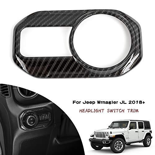 Car Headlight Lamp Switch Button Decoration Cover Trim Stickers for Jeep Wrangler JL 2018 Up Carbon Fiber Grain